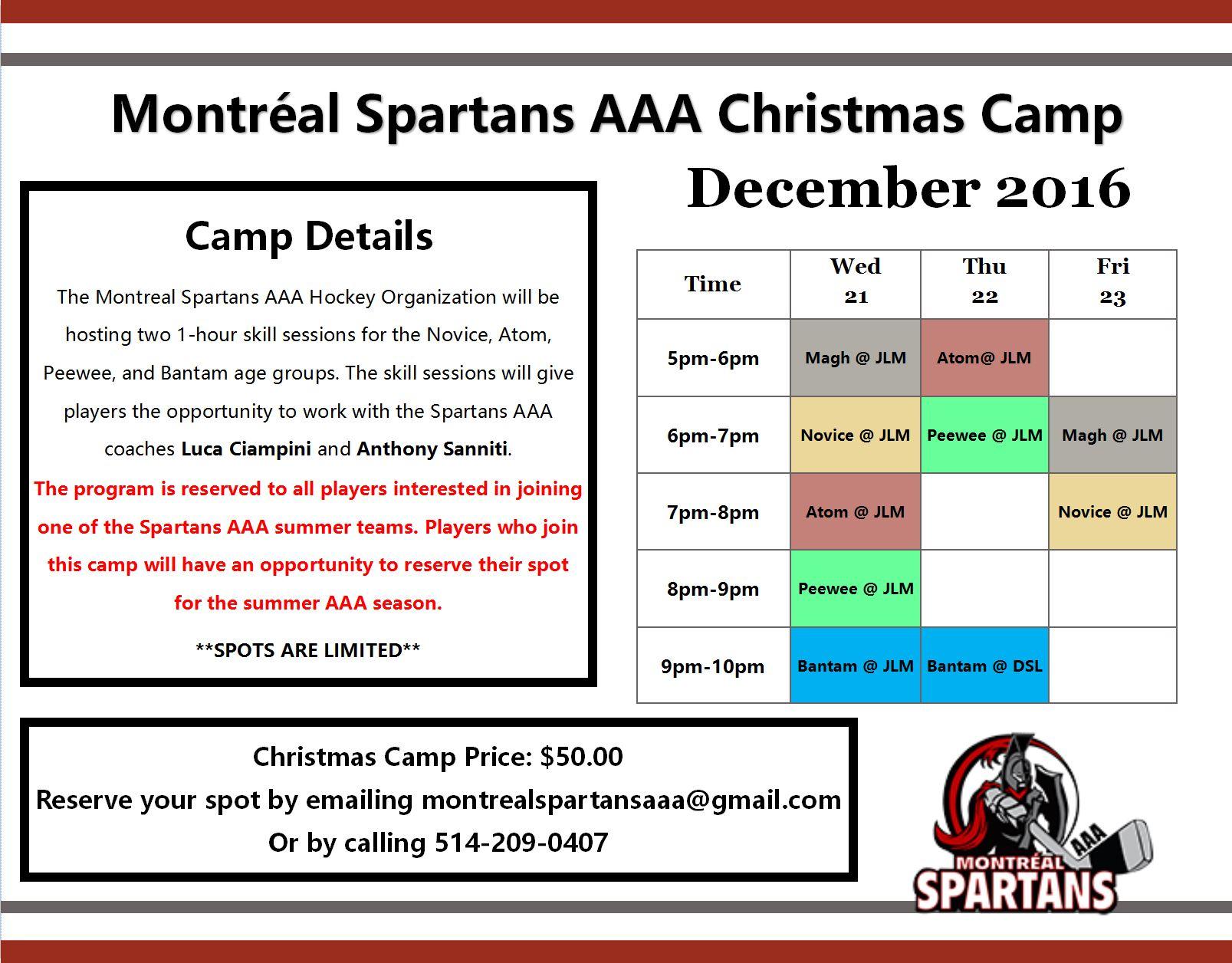 Montréal Spartans Christmas Camp / Camp de Noël des Spartans de ...
