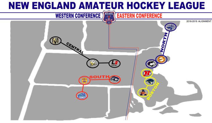 League Map New England Amateur Hockey League